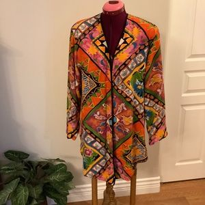 Bright Multicolor Rayon Coat Cardigan Medium
